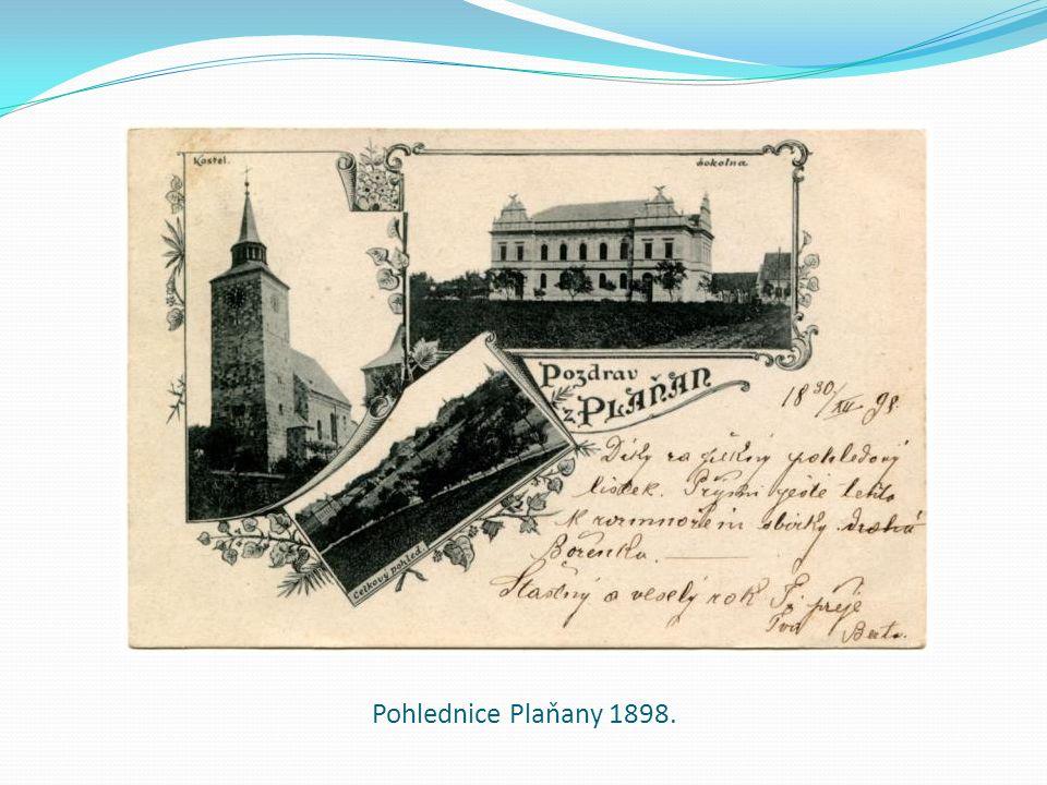 Pohlednice Plaňany 1898.