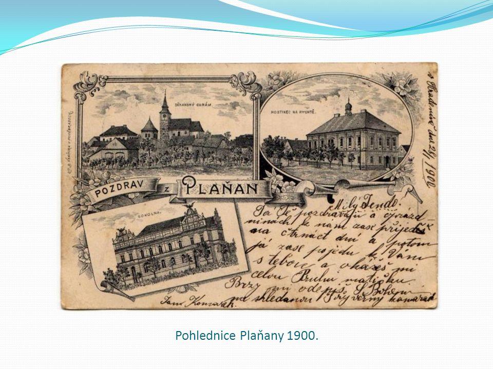 Pohlednice Plaňany 1900.