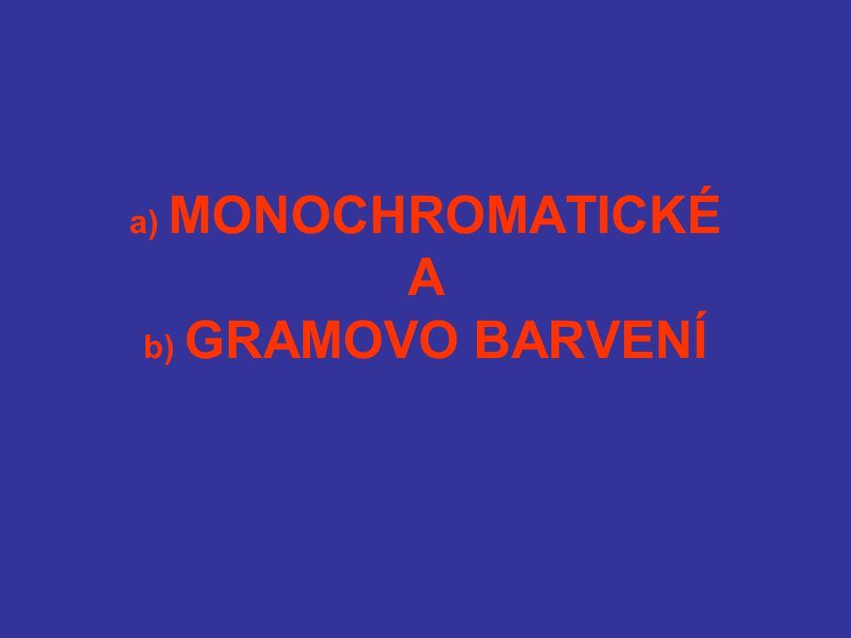 a) MONOCHROMATICKÉ A b) GRAMOVO BARVENÍ