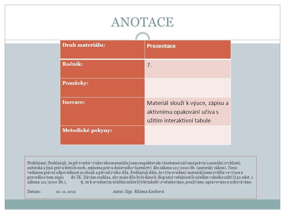 ANOTACE Druh materiálu: Prezentace Ročník: 7. Pomůcky: Inovace: Materiál slouží k výuce, zápisu a aktivnímu opakování učiva s užitím interaktivní tabu