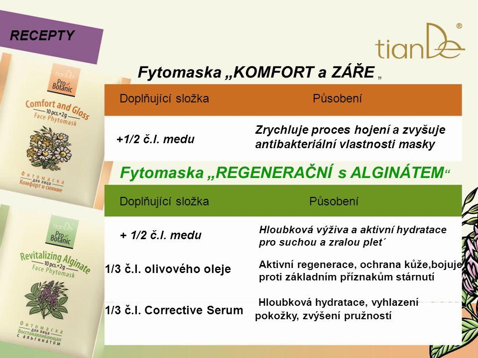 """Fytomaska """"KOMFORT a ZÁŘE """" RECEPTY Doplňující složka Působení +1/2 č.l. medu Zrychluje proces hojení a zvyšuje antibakteriální vlastnosti masky Fytom"""