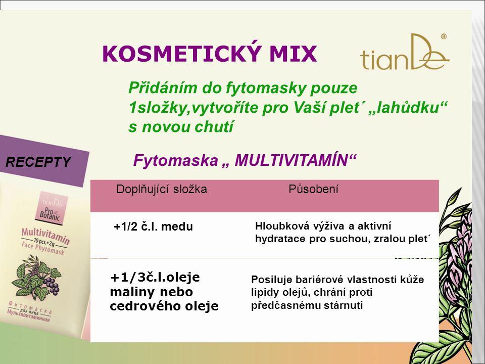 """KOSMETICKÝ MIX RECEPTY Přidáním do fytomasky pouze 1složky,vytvoříte pro Vaší plet´ """"lahůdku"""" s novou chutí Fytomaska """" MULTIVITAMÍN"""" Doplňující složk"""
