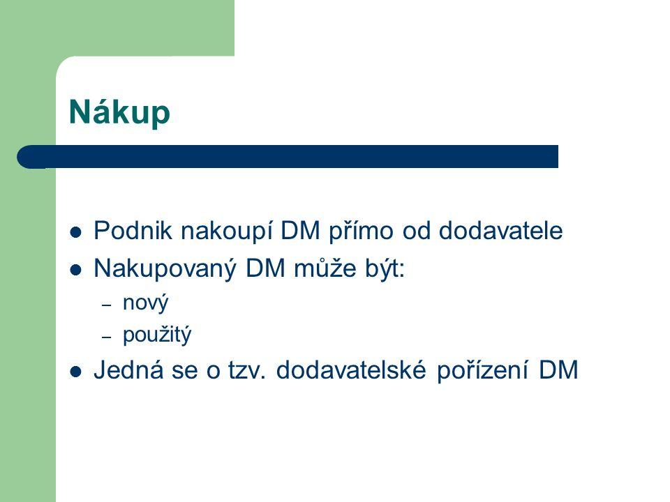 Nákup Podnik nakoupí DM přímo od dodavatele Nakupovaný DM může být: – nový – použitý Jedná se o tzv.