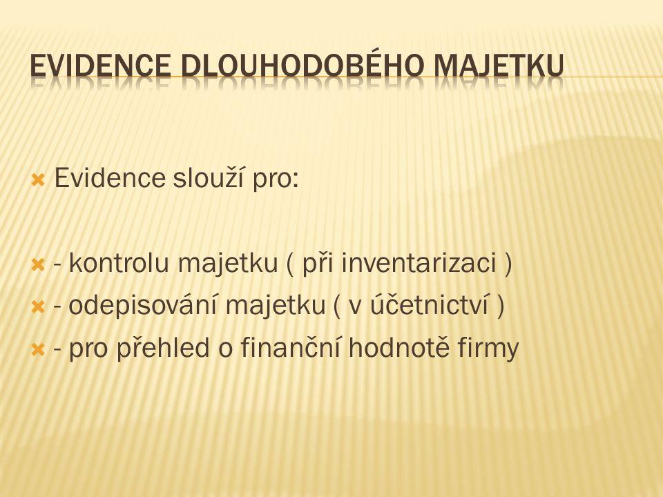  Evidence slouží pro:  - kontrolu majetku ( při inventarizaci )  - odepisování majetku ( v účetnictví )  - pro přehled o finanční hodnotě firmy