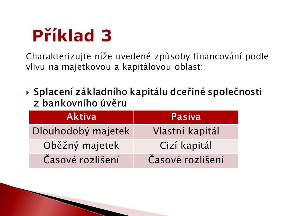 Charakterizujte níže uvedené způsoby financování podle vlivu na majetkovou a kapitálovou oblast:  Splacení základního kapitálu dceřiné společnosti z bankovního úvěru AktivaPasiva Dlouhodobý majetekVlastní kapitál Oběžný majetekCizí kapitál Časové rozlišení