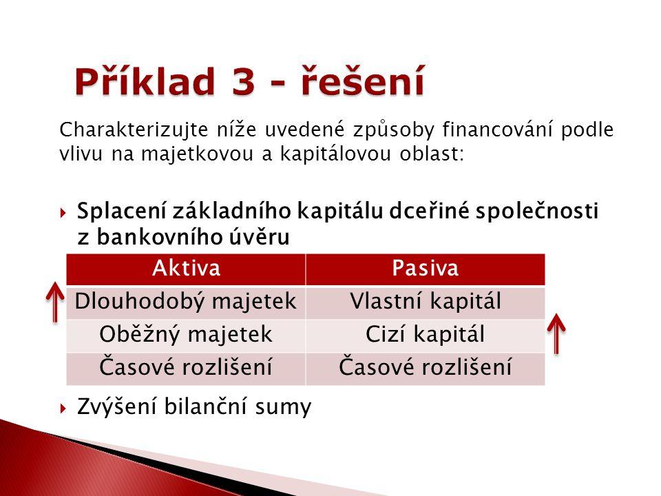 Charakterizujte níže uvedené způsoby financování podle vlivu na majetkovou a kapitálovou oblast:  Splacení základního kapitálu dceřiné společnosti z bankovního úvěru  Zvýšení bilanční sumy AktivaPasiva Dlouhodobý majetekVlastní kapitál Oběžný majetekCizí kapitál Časové rozlišení