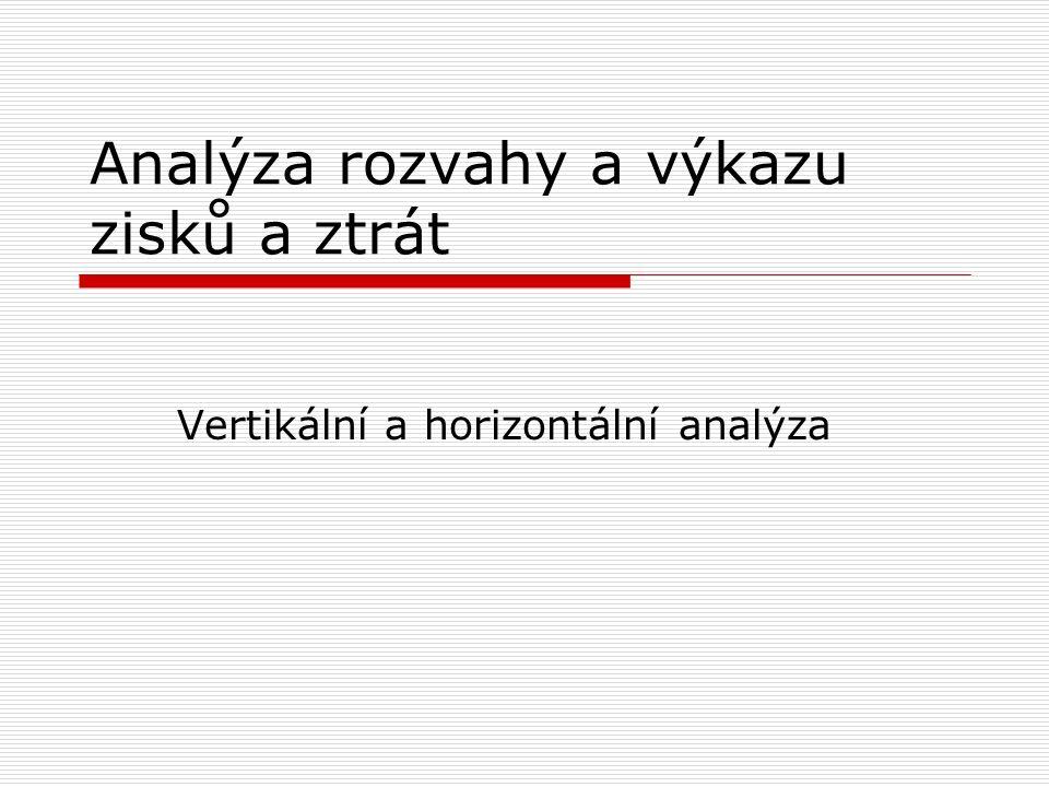 Analýza rozvahy a výkazu zisků a ztrát Vertikální a horizontální analýza