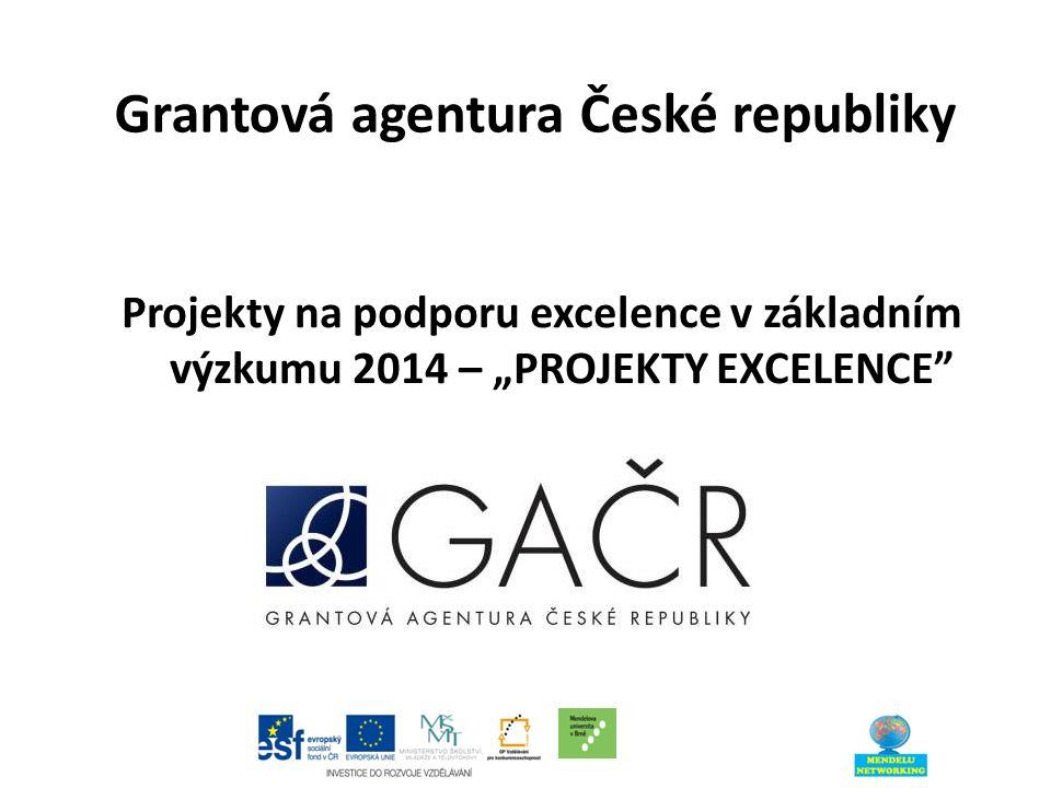 """Grantová agentura České republiky Projekty na podporu excelence v základním výzkumu 2014 – """"PROJEKTY EXCELENCE"""