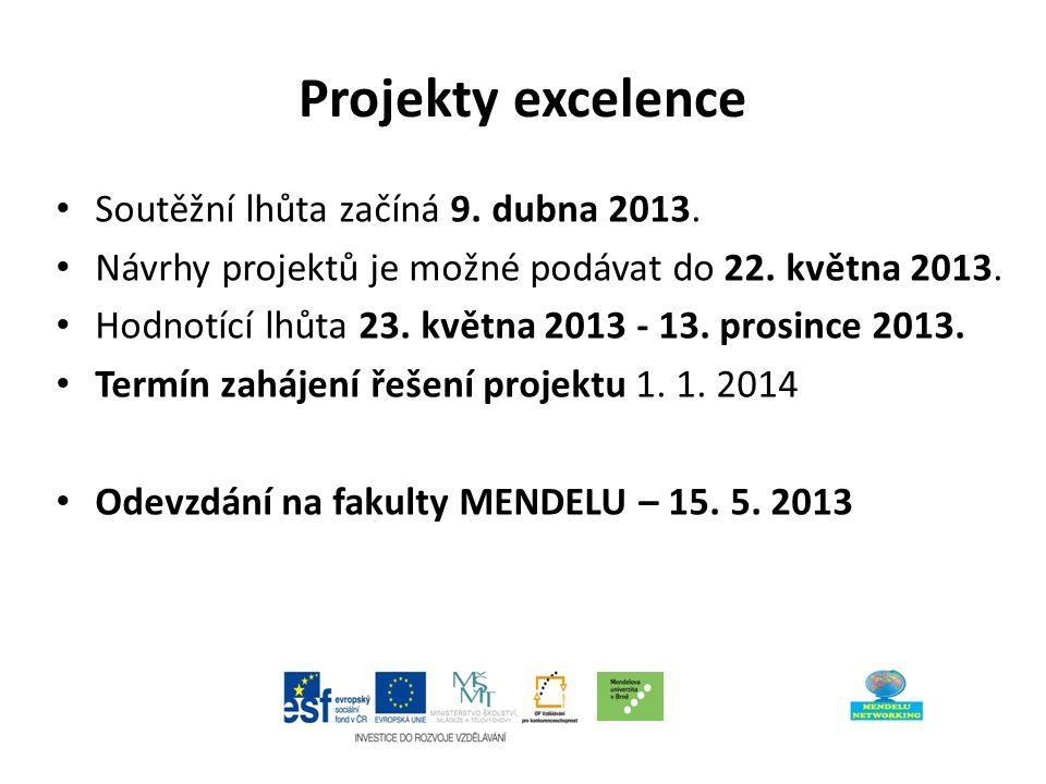 Projekty excelence Soutěžní lhůta začíná 9. dubna 2013.