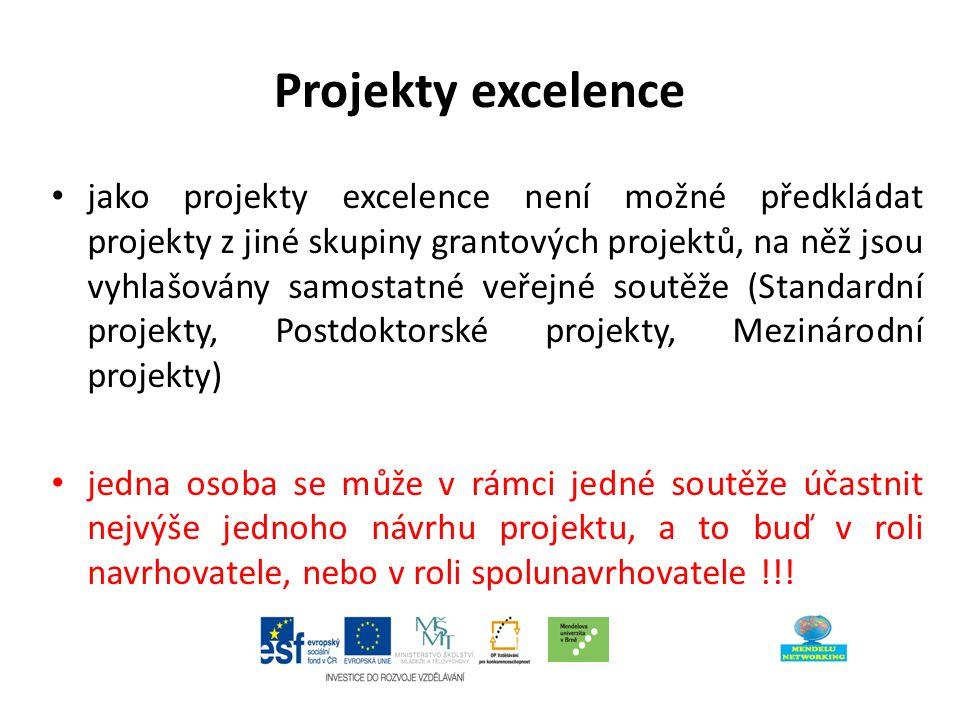 Projekty excelence jako projekty excelence není možné předkládat projekty z jiné skupiny grantových projektů, na něž jsou vyhlašovány samostatné veřejné soutěže (Standardní projekty, Postdoktorské projekty, Mezinárodní projekty) jedna osoba se může v rámci jedné soutěže účastnit nejvýše jednoho návrhu projektu, a to buď v roli navrhovatele, nebo v roli spolunavrhovatele !!!