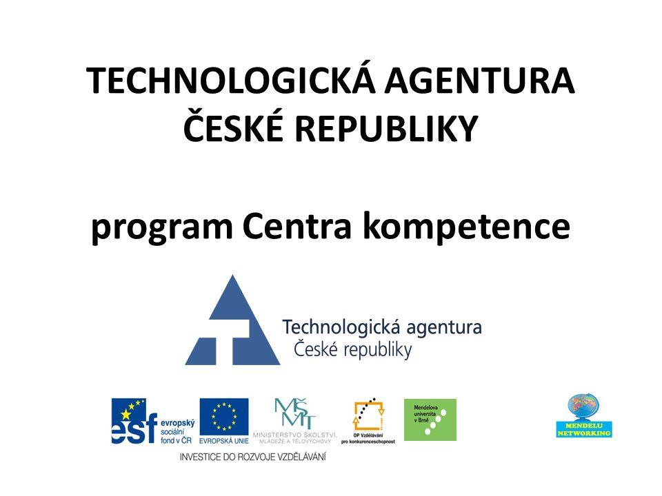TECHNOLOGICKÁ AGENTURA ČESKÉ REPUBLIKY program Centra kompetence