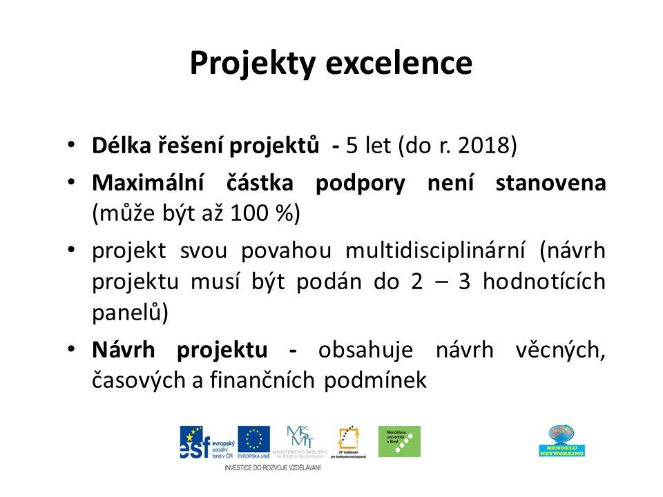 Projekty excelence Délka řešení projektů - 5 let (do r.
