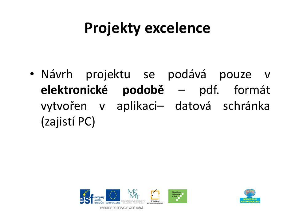 Projekty excelence Návrh projektu se podává pouze v elektronické podobě – pdf.