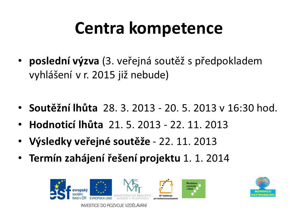 Centra kompetence poslední výzva (3. veřejná soutěž s předpokladem vyhlášení v r.