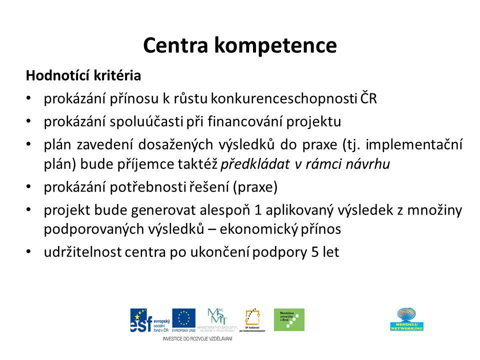 Centra kompetence Hodnotící kritéria Strategická výzkumná agenda Organizační zajištění činnosti centra Aplikační potenciál předpokládaných výsledků Kvalita a připravenost konsorcia a charakter spolupráce uvnitř centra Ekonomická efektivnost projektu Soulad s Národními prioritami orientovaného výzkumu, experimentálního vývoje a inovací Ekonomická způsobilost uchazeče