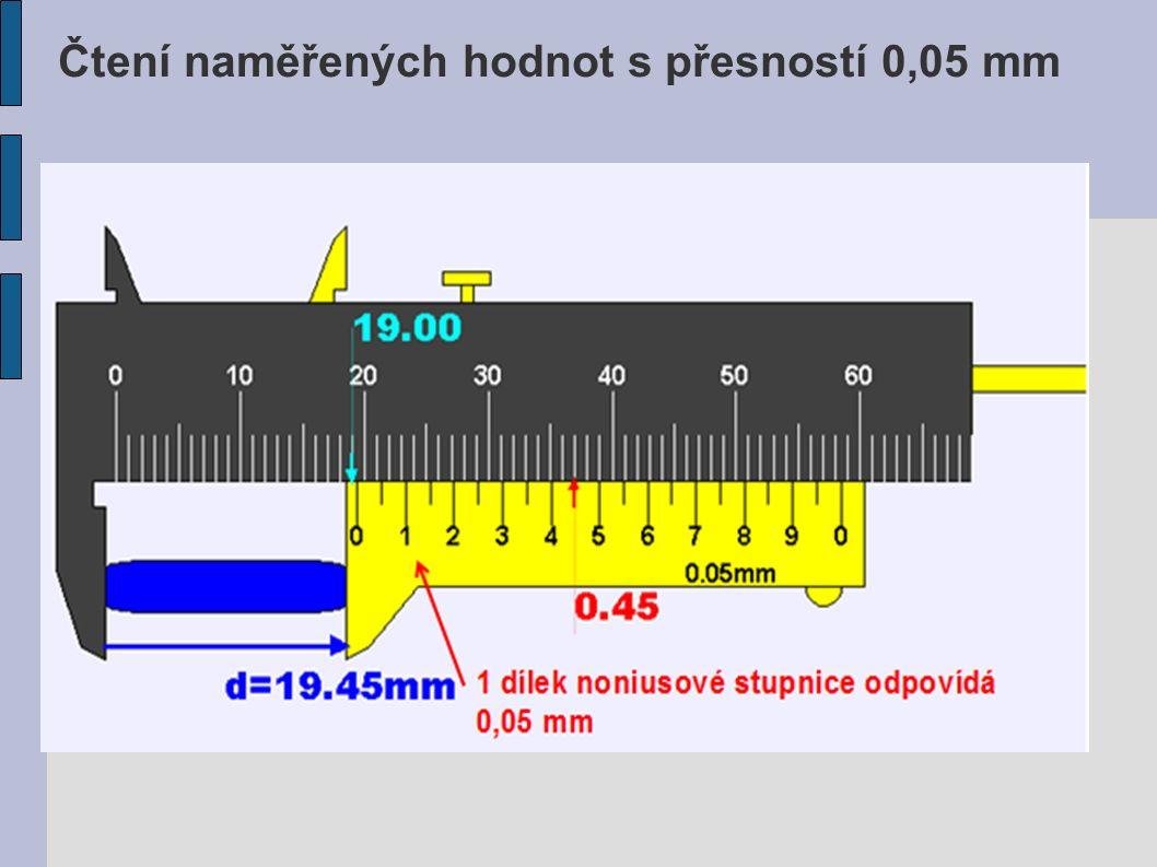 Čtení naměřených hodnot s přesností 0,05 mm