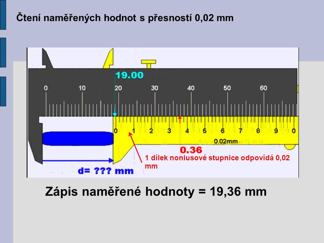 Čtení naměřených hodnot s přesností 0,02 mm Zápis naměřené hodnoty = 19,36 mm 1 dílek noniusové stupnice odpovídá 0,02 mm