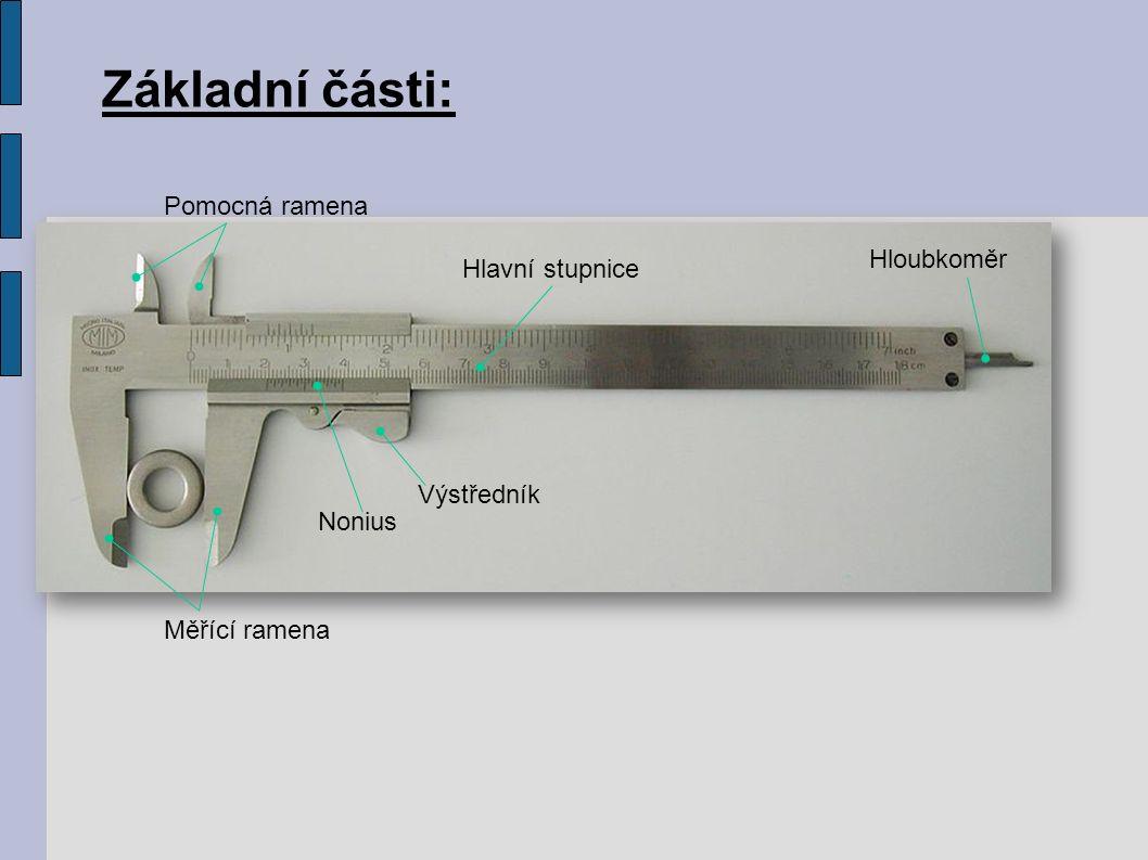 Základní části: Měřící ramena Pomocná ramena Hlavní stupnice Nonius Výstředník Hloubkoměr