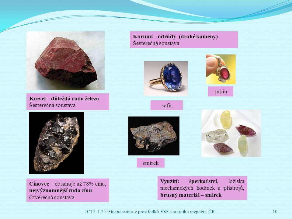 Krevel – důležitá ruda železa Šesterečná soustava Korund – odrůdy (drahé kameny) Šesterečná soustava safír rubín Využití: šperkařství, ložiska mechanických hodinek a přístrojů, brusný materiál – smirek smirek Cínovec – obsahuje až 78% cínu, nejvýznamnější ruda cínu Čtverečná soustava ICT2-1-25 Financováno z prostředků ESF a státního rozpočtu ČR10