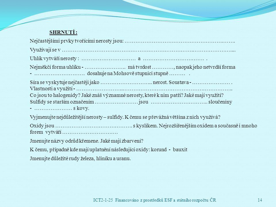 ICT2-1-25 Financováno z prostředků ESF a státního rozpočtu ČR14 SHRNUTÍ : Nejčastějšími prvky tvořícími nerosty jsou: ……………………………………………….…….