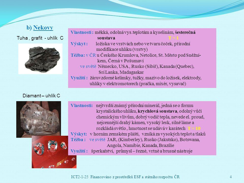 b) Nekovy Tuha, grafit - uhlík C Vlastnosti : měkká, odolná vys.teplotám a kyselinám, šesterečná soustavaT = 1 Výskyt : ložiska ve vrstvách nebo ve tvaru čoček, přírodní modifikace uhlíku (vrstvy) Těžba: v ČR u Českého Krumlova, Netolice, St.