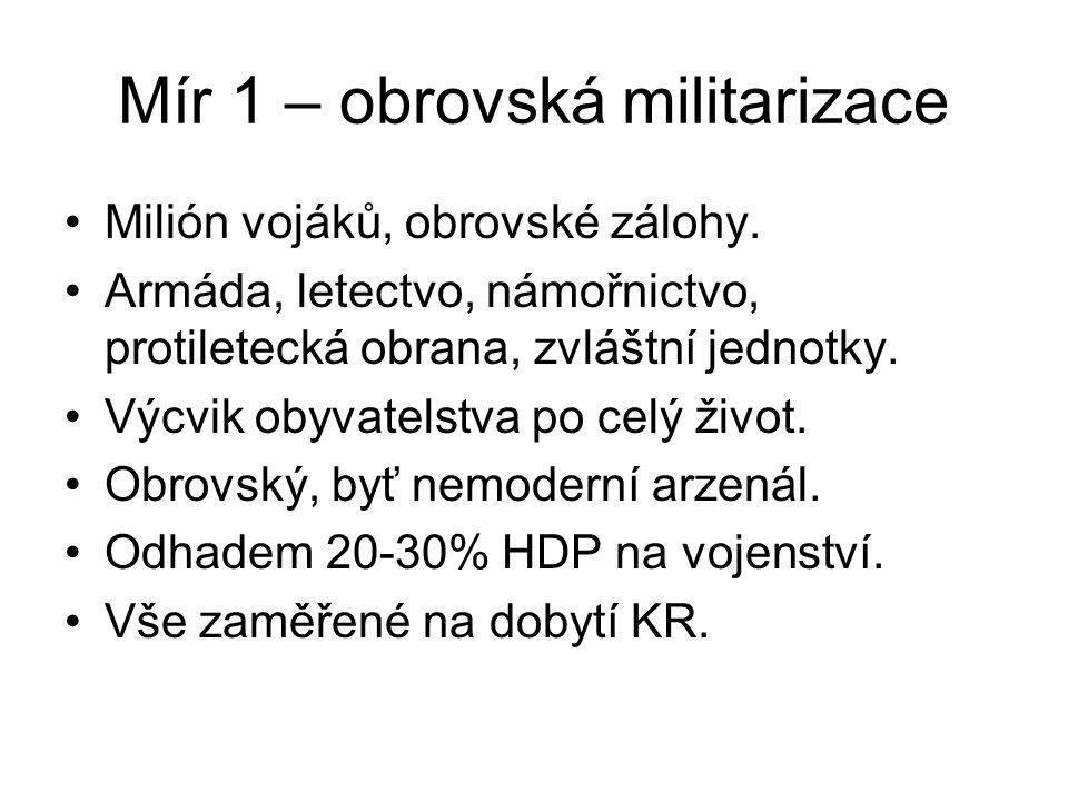 Mír 1 – obrovská militarizace Milión vojáků, obrovské zálohy. Armáda, letectvo, námořnictvo, protiletecká obrana, zvláštní jednotky. Výcvik obyvatelst
