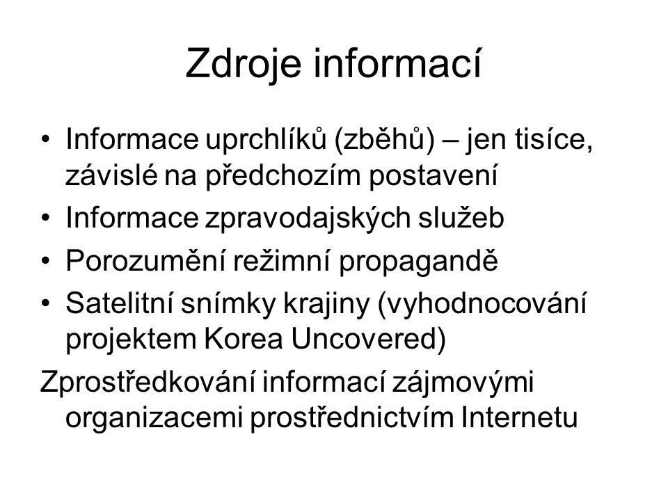 Zdroje informací Informace uprchlíků (zběhů) – jen tisíce, závislé na předchozím postavení Informace zpravodajských služeb Porozumění režimní propagan