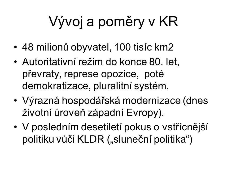 Vývoj a poměry v KR 48 milionů obyvatel, 100 tisíc km2 Autoritativní režim do konce 80. let, převraty, represe opozice, poté demokratizace, pluralitní