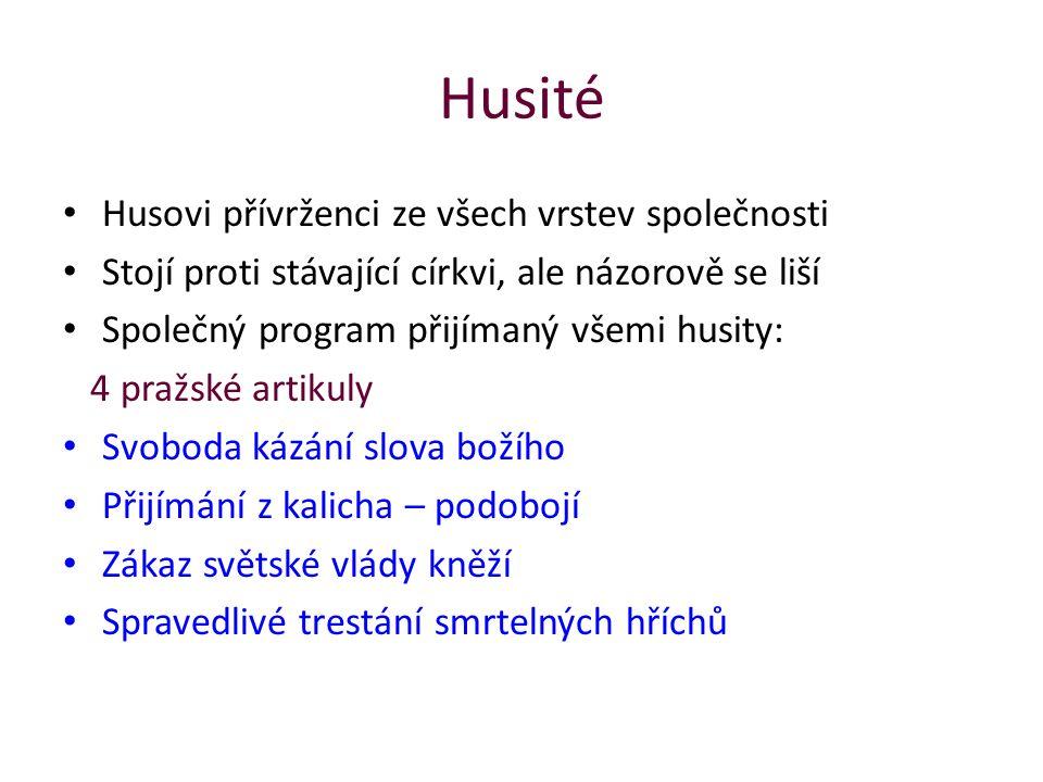 Husité Husovi přívrženci ze všech vrstev společnosti Stojí proti stávající církvi, ale názorově se liší Společný program přijímaný všemi husity: 4 pra