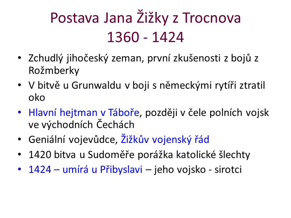 Postava Jana Žižky z Trocnova 1360 - 1424 Zchudlý jihočeský zeman, první zkušenosti z bojů z Rožmberky V bitvě u Grunwaldu v boji s německými rytíři z