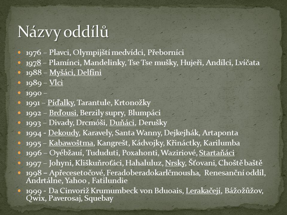 1976 – Plavci, Olympijští medvídci, Přeborníci 1978 – Plamínci, Mandelinky, Tse Tse mušky, Hujeři, Andílci, Lvíčata 1988 – Myšáci, Delfíni 1989 – Vlci 1990 – 1991 – Píďalky, Tarantule, Krtonožky 1992 – Brďousi, Berzily supry, Blumpáci 1993 – Divady, Drcmóši, Duňáci, Derušky 1994 - Dekoudy, Karavely, Santa Wanny, Dejkejhák, Artaponta 1995 – Kabawoštma, Kangrešt, Kádvojky, Křináctky, Karilumba 1996 – Oyébžauí, Tududuti, Poxahonti, Waziriové, Startaňáci 1997 – Johyni, Kliškuňroťáci, Hahaluluz, Nrsky, Šťovani, Choště baště 1998 – Apřecesetočové, Feradoberadokarlčmousha, Renesanční oddíl, Andrtálne, Yahoo, Fatilundie 1999 - Da Cinvoriž Krumumbeck von Bduoais, Lerakačejí, Bážožůžov, Qwix, Paverosaj, Squebay