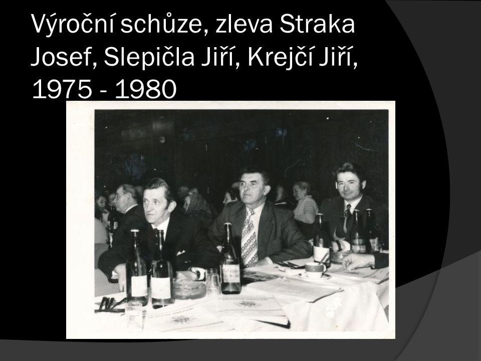 Výroční schůze, zleva Straka Josef, Slepičla Jiří, Krejčí Jiří, 1975 - 1980