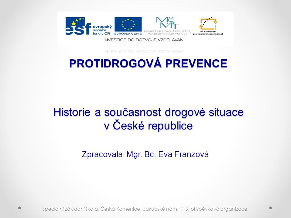PROTIDROGOVÁ PREVENCE Historie a současnost drogové situace v České republice Zpracovala: Mgr.