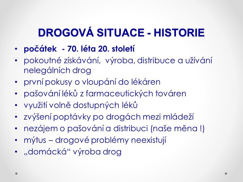 DROGOVÁ SITUACE - HISTORIE počátek - 70. léta 20.