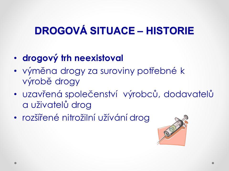 DROGOVÁ SITUACE – HISTORIE drogový trh neexistoval výměna drogy za suroviny potřebné k výrobě drogy uzavřená společenství výrobců, dodavatelů a uživat