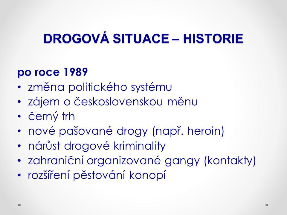 DROGOVÁ SITUACE – HISTORIE po roce 1989 změna politického systému zájem o československou měnu černý trh nové pašované drogy (např. heroin) nárůst dro