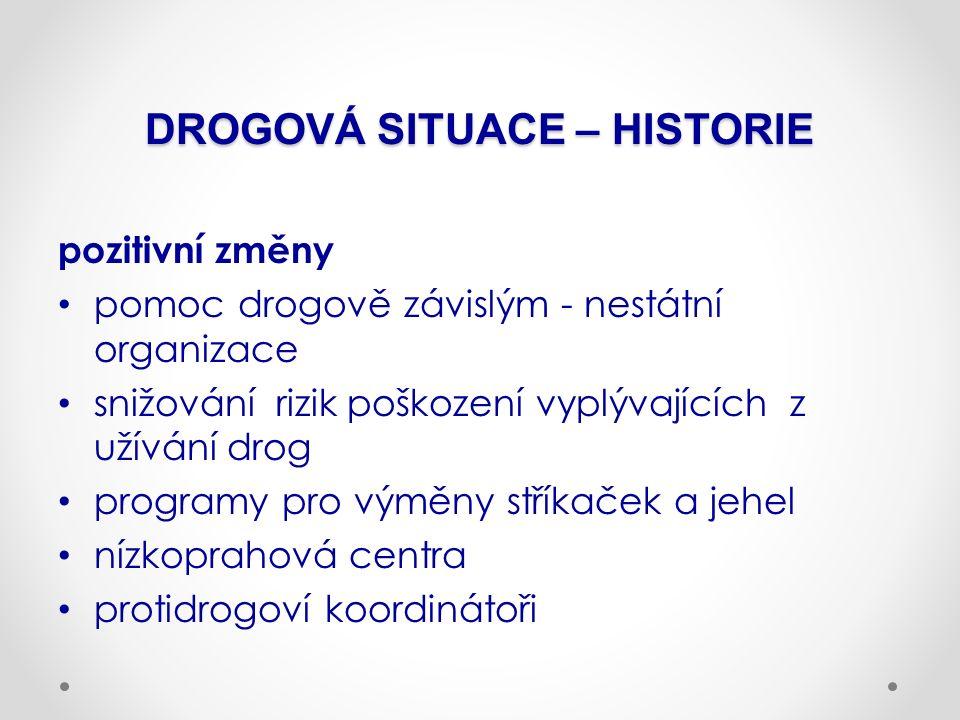 DROGOVÁ SITUACE – HISTORIE pozitivní změny pomoc drogově závislým - nestátní organizace snižování rizik poškození vyplývajících z užívání drog program