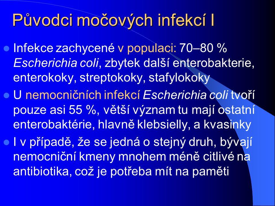 Původci močových infekcí I Infekce zachycené v populaci: 70–80 % Escherichia coli, zbytek další enterobakterie, enterokoky, streptokoky, stafylokoky U nemocničních infekcí Escherichia coli tvoří pouze asi 55 %, větší význam tu mají ostatní enterobaktérie, hlavně klebsielly, a kvasinky I v případě, že se jedná o stejný druh, bývají nemocniční kmeny mnohem méně citlivé na antibiotika, což je potřeba mít na paměti