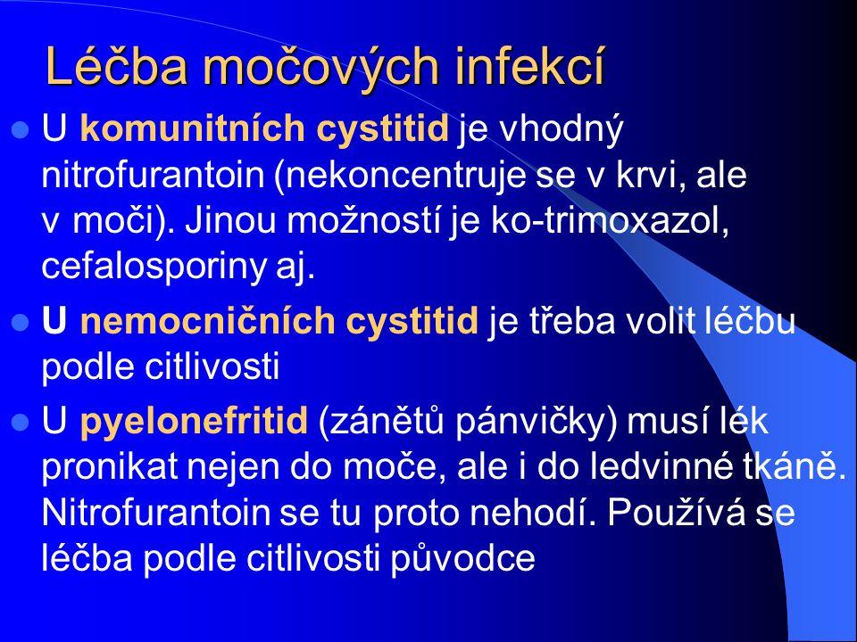 Léčba močových infekcí U komunitních cystitid je vhodný nitrofurantoin (nekoncentruje se v krvi, ale v.moči).