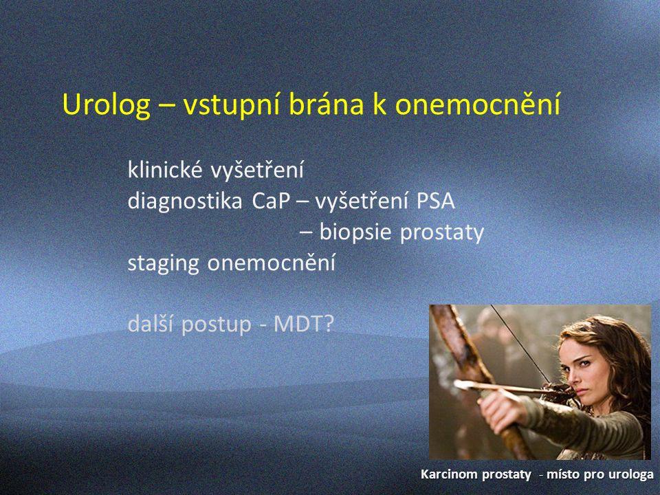 Karcinom prostaty - místo pro urologa Urolog – vstupní brána k onemocnění klinické vyšetření diagnostika CaP – vyšetření PSA – biopsie prostaty staging onemocnění další postup - MDT