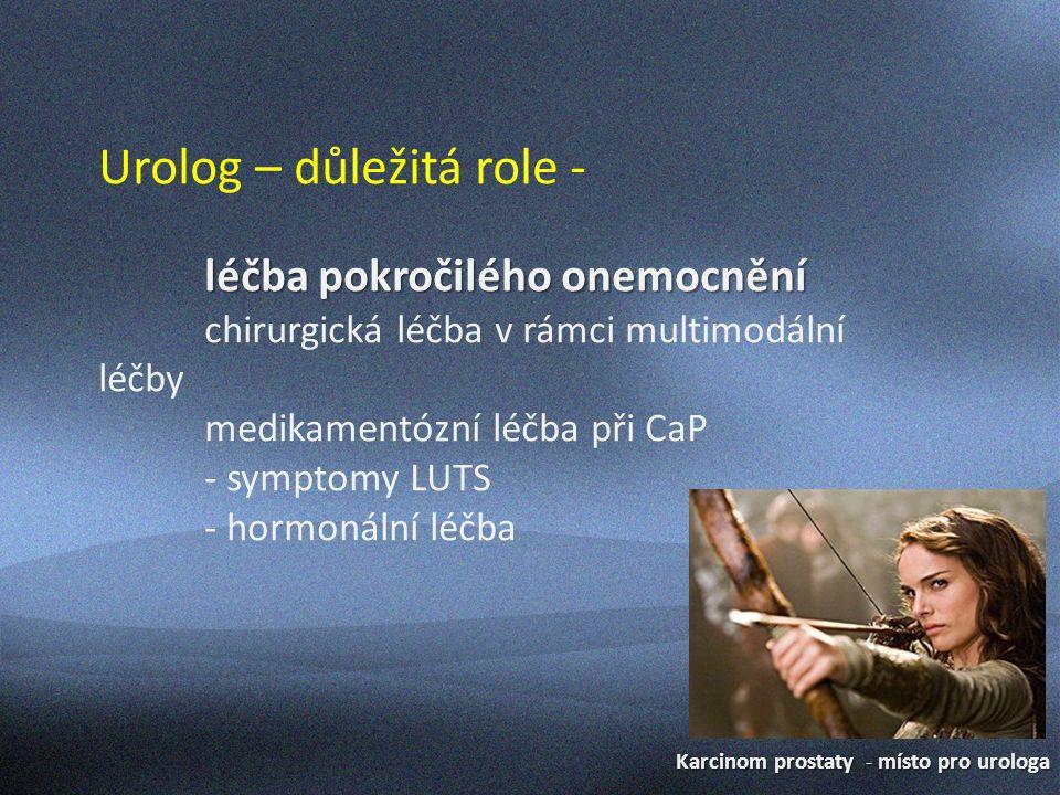 """Karcinom prostaty - místo pro urologa Urolog – důležitá role - sledování pacientů po léčbě (jak lokální, tak u pokročilého onemocnění) preventivní opatření při hormonální léčbě léčba GUT toxicity po radioterapii léčba """"urologických komplikací základního onemocnění (dezobstrukce, hematurie, obstrukce HMC …)"""