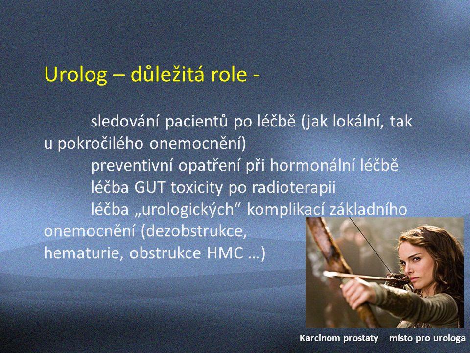 Karcinom prostaty - místo pro urologa Urolog – důležitá role - součást multidisciplinárního týmu u pokročilých forem onemocnění spolurozhodování o managementu