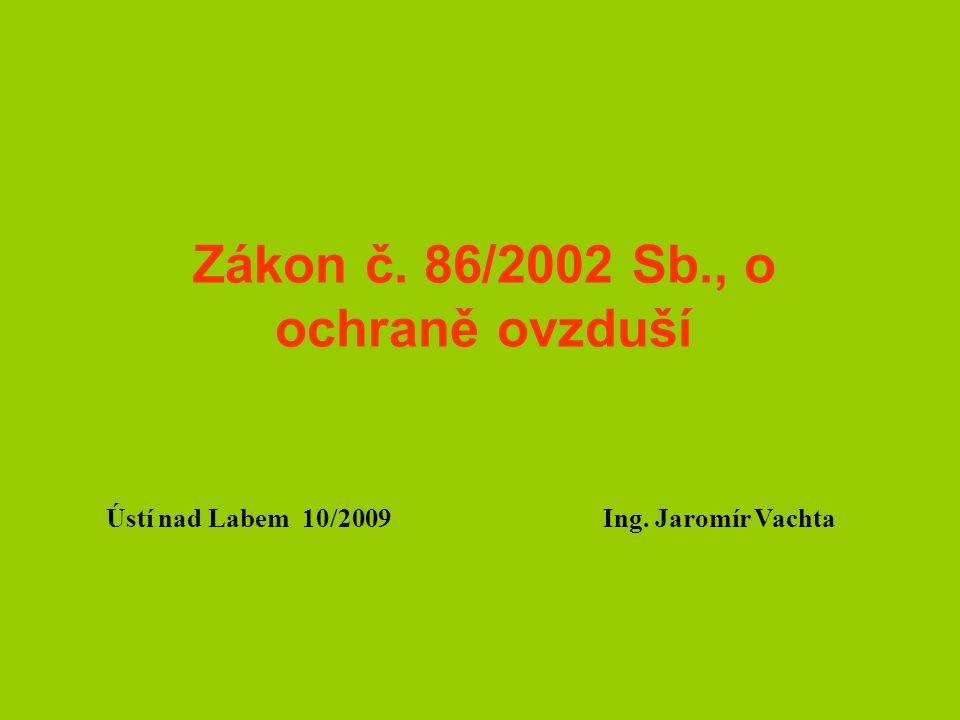 Zákon č. 86/2002 Sb., o ochraně ovzduší Ústí nad Labem 10/2009 Ing. Jaromír Vachta
