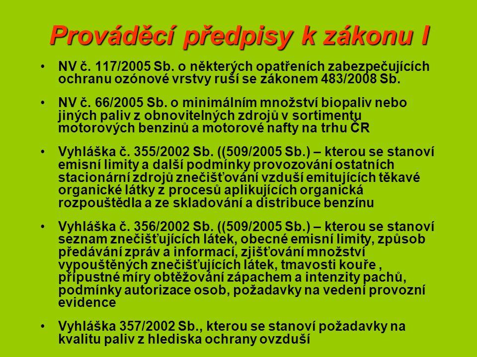 Prováděcí předpisy k zákonu I NV č. 117/2005 Sb.