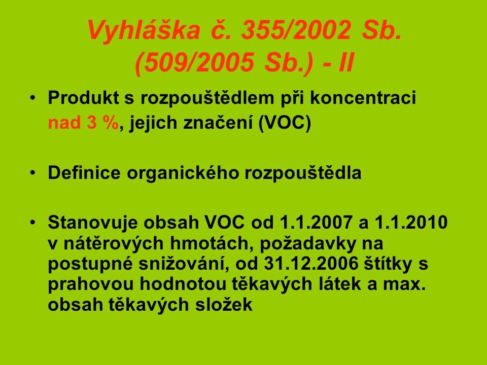 Vyhláška č. 355/2002 Sb.