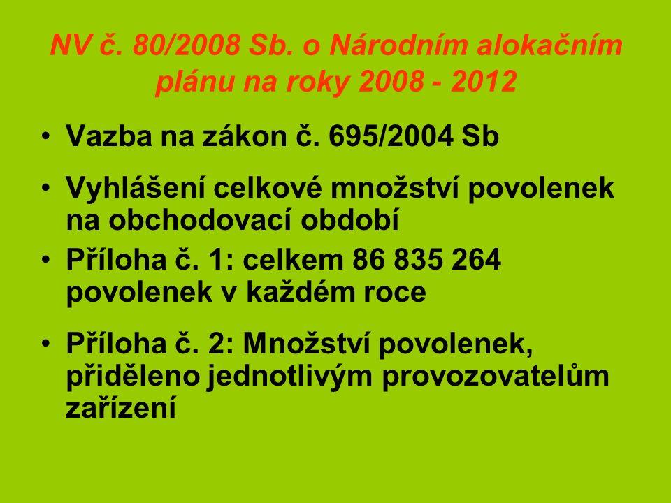 NV č. 80/2008 Sb. o Národním alokačním plánu na roky 2008 - 2012 Vazba na zákon č.