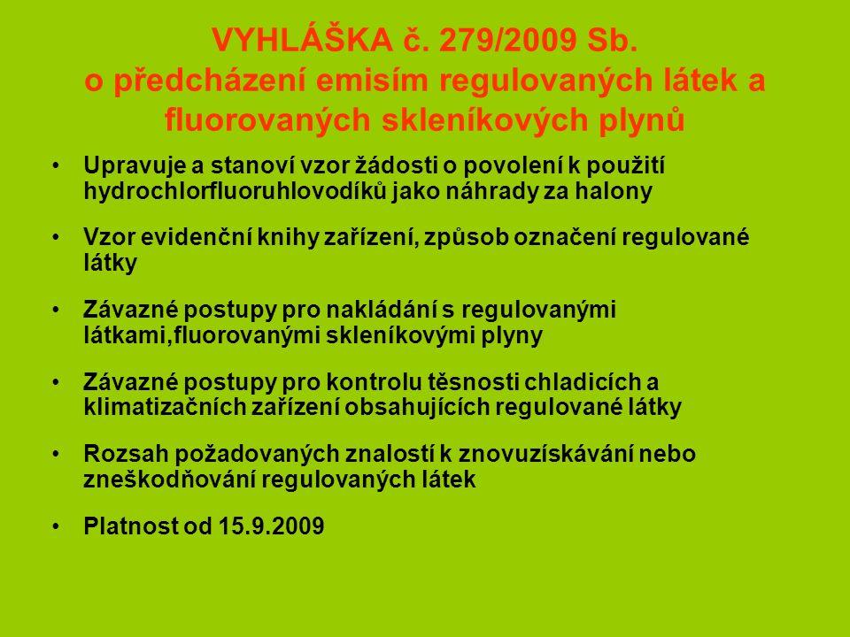 VYHLÁŠKA č. 279/2009 Sb.