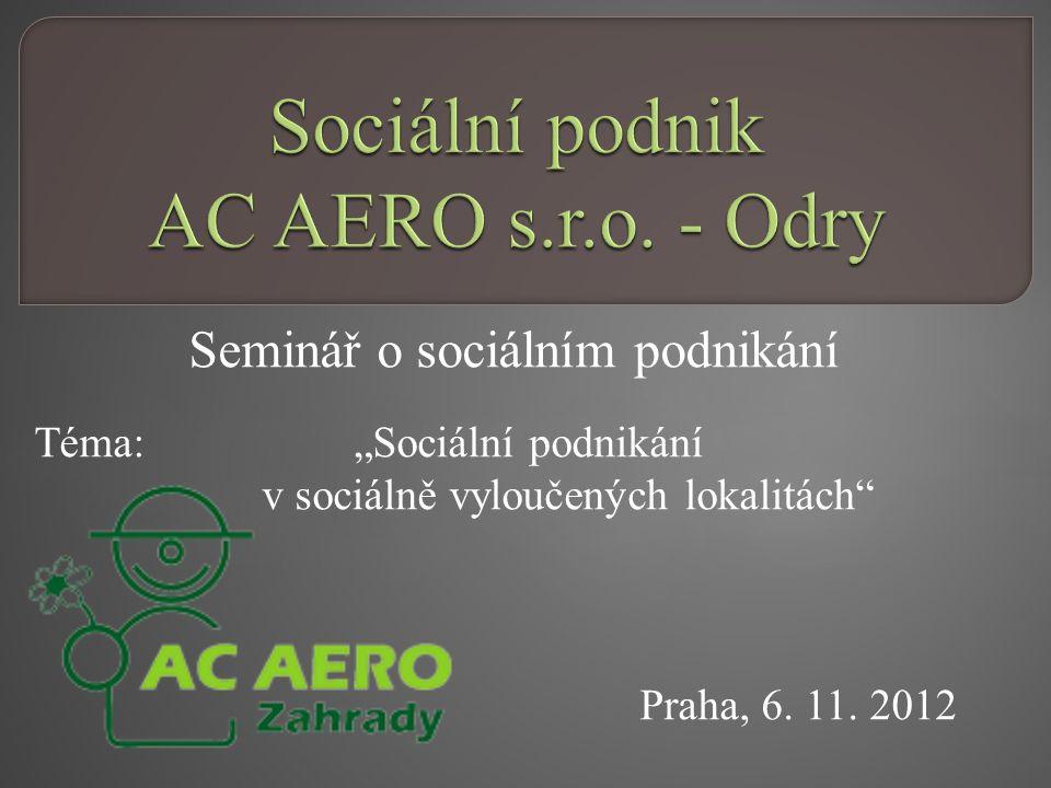 """Seminář o sociálním podnikání Téma: """"Sociální podnikání v sociálně vyloučených lokalitách"""" Praha, 6. 11. 2012"""
