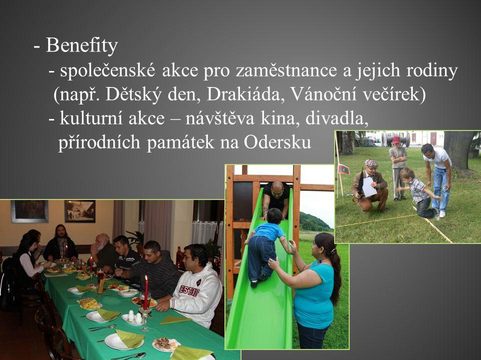 - Benefity - společenské akce pro zaměstnance a jejich rodiny (např. Dětský den, Drakiáda, Vánoční večírek) - kulturní akce – návštěva kina, divadla,
