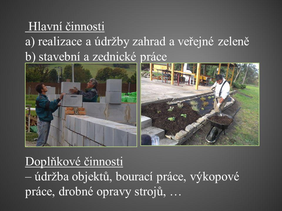 Hlavní činnosti a) realizace a údržby zahrad a veřejné zeleně b) stavební a zednické práce Doplňkové činnosti – údržba objektů, bourací práce, výkopov
